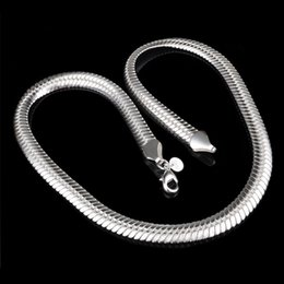 Discount pendant solitaire - Promotion Sale 925 silver chain necklace Christmas fashion 925 Silver 6MM Snake Chain necklace jewelry FREE Shipping hot