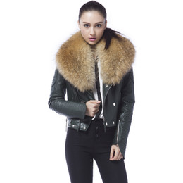 Discount Raccoon Fur Collar Leather Jacket | 2017 Leather Jacket ...