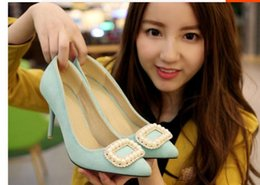$enCountryForm.capitalKeyWord Canada - Spring new suede thin with shallow mouth shoes South Korea Princess rhinestone pearl square button fine with women's shoes