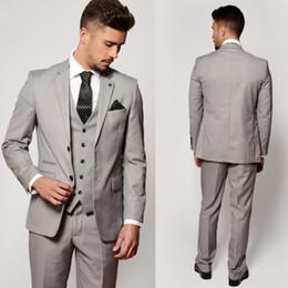Discount men wedding two piece coat suit - Light Grey Wedding Tuxedos Three Pieces Men Wedding Suits Custom Made Latest Coat Pant Designs Groom Tuxedo Formal Busin