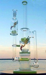 Big Base Bong Canada - Colorful Dab Rigs Big Green Beaker Base Tall Glass Bongs Cheap Cool Bongs with sprinkle perc and round liner bong with ash catcher