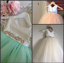 $enCountryForm.capitalKeyWord Canada - 2015 Real Picture Bridal Flower Girl Dresses Tulle Beaded Sash Floor Length Toddler Wedding Party Dresses for Child Kids Pageant Gowns