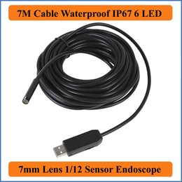 Night Vision Tube NZ - 7M Cable Length 7mm Lens Waterproof Mini USB Endoscope Inspection Pipe Camera Borescope Tube Snake Scope With 6 LEDs Night Vision industrial