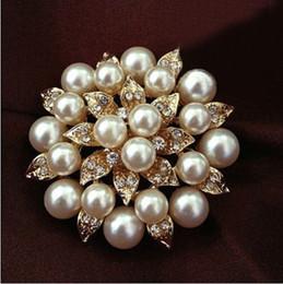 "Pins Big Canada - 5pcs Big 2"" Faux Pearl Rhinestone Crystal Vintage Flower Brooch Pin Brooches"