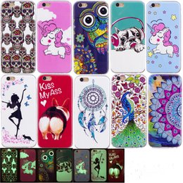 Glow dark iphone 5s case luminous online shopping - Luminous Glow In Dark Skull unicorn Gel Cartoon Owl Soft TPU Case For iphone X G G S PLUS S