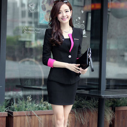 Ladies Skirts Tops Canada - New One Button Regular Women Elegant Spring Business Working Skirt Suits Formal Ladies Top And Skirt Set Office Uniform Free Shipping