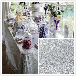 Sequins Silver Table Cloth NZ - ShinyBeauty For Sale 48x72inch Silver Sequin Tablecloth wholesale Wedding Beautiful Sequin Table Cloth   Overlay  Cover Rectangle