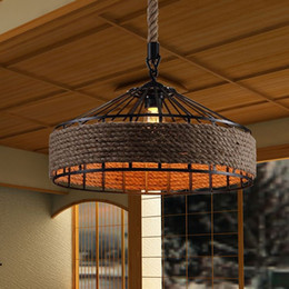 $enCountryForm.capitalKeyWord NZ - Vintage America Country Iron Edison Rope Pendant Lights Vintage Restaurant Lamp Industrial Hemp Pendant Lamps Rope Light