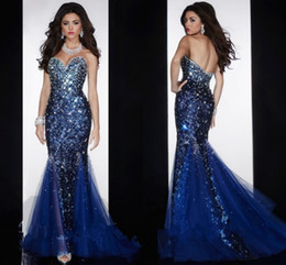 prom dresses blue diamonds Canada - 2015 Hot Mermaid Sweetheart Open Back Crystals Beaded Sequined Diamond Organza Prom Gown Royal Blue Evening Dresses with Crystal
