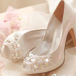 bridal peep toe heels NZ - Crystal Peep Toe High Heels Rhinestone Bridal Shoes Luxurious Silver 4 Inches Wedding Ceremony Prom Shoes Birthday Gift