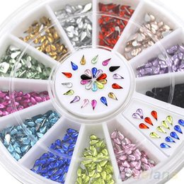 Roues À Ongles En Gros Pas Cher-Grossiste-3mm Nail Décoration Stickers Waterdrop Rhinestone 12 Couleurs DIY Nail Tips Roue 4CZZ
