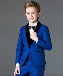 Barato Casaco De Meninos De Azul Royal-Ternos de terno para bebês Groom Wedding Smoking Página Boy Baby Party formal Custom 2 Piece (coat + pants) custom made