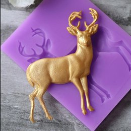 fondant deer Canada - Vintage Golden Deer Shaped Cupcake Silicone Mold Fondant Cake Decorating Tools Mould Bakeware Moule Silicone
