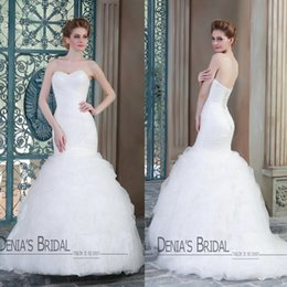 Barato Mermaid Tiered Sweetheart-2015 Mermaid Vestidos de casamento Strapless Sweetheart decote Plated Tiered Tulle Sweep Train Fotos de modelos Bridal Gowns