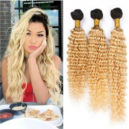 ombre human hair wefts Canada - Deep Wave 1B 613 Dark Root Ombre Malaysian Human Hair Bundles 3Pcs Ombre Blonde Virgin Remy Human Hair Weaves Two Tone Double Wefts