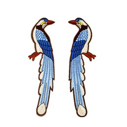 China 2PCS Birds Patches for Clothing Bags Iron on Transfer Applique Patch for Jeans Cloth Sofa DIY Sew on Embroidered Stickers cheap embroidered cloth patch sticker suppliers