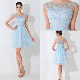 Robes Courtes Mignonnes Pour Fêtes Pas Cher-Illusion NewReal Pictures Light Sky Blue Tulle Short Cute Robes de soirée 2015 Crew Neck Mini Cocktail Sexy Beading Homecoming Robes BZP0465
