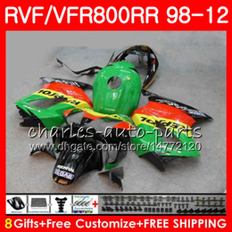 honda vfr interceptor fairings NZ - VFR800 For HONDA green black Interceptor VFR800RR 98 99 00 01 02 03 04 12 90NO54 VFR 800 RR 1998 1999 2000 2001 2002 2003 2004 2012 Fairing