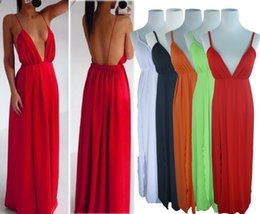 $enCountryForm.capitalKeyWord Canada - 2014 HOT SALE Summer Beach Sexy Plunge Deep V Neck Slit Front Open Back Backless Prom Long Gown Maxi Dress Free Shipping 5 Color