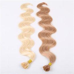 Una variedad de hermosos colores Chiese Bonded U TIP Extensiones de ondas corporales 10-30 pulgadas 6A Virgin Hair Extension humana 100g en venta