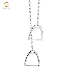 6a75be89ff2bb0 Yfn 925 Sterling Silver Double Luck Pendant Horse Hoof Horseshoe Necklace  Unisex Jewelry For Men Women Gnx3410