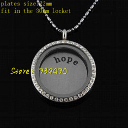 coin locket pendants Canada - new floating locket window plate stainless steel 22mm hope fit in 30mm around living locket