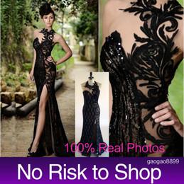 $enCountryForm.capitalKeyWord Canada - Real Image Mermaid Evening Dresses Rami Salamoun 2019 Sheer High Neck Sleeveless Sweep Train Lace Tulle Split Side Formal Prom Gowns New
