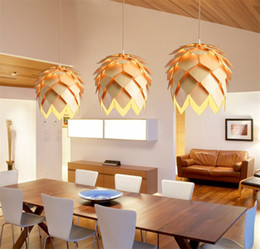 light cones NZ - DIY Wooden Led Pinecone Pendant Lights Modern Handmade IQ Puzzles Home Restaurant Hanging Pine Cone Wood Dining Hall Light