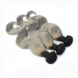 Ombre Human Hair Bundles Canada - T1b Grey Ombre Human Hair Weaves Two Tone Peruvian Indian Brazilian Malaysian Virgin Hair Bundles Body Wave 10-30 inch