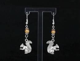 $enCountryForm.capitalKeyWord Canada - Squirrel&Glass Bead Charms Vintage Silver Drop Dangle Earrings Girls Women Gift Dress Brand 50 Pair DIY Jewelry Accessories H205