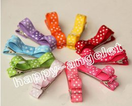 Hair Clip Cover Baby NZ - 50pcs mini hair accessories bows clips layered polka dot ribbon covered Double Single Prong Duckbill Alligator Hairpins Baby headwear FJ3226