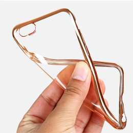 Wholesale cases iphone5 resale online - Soft TPU Case Ultra Thin Transparent Clear Electroplating Plating Cases Cover for iphone s plus s iphone6 plus iphone5