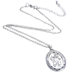 christopher necklace NZ - Necklaces Pendants Charm Women Choker Chunky Statement Bib Chain Necklace St CHRISTOPHER PROTECT US Necklaces Silver Saint Jewelry Free DHL