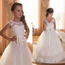 Barato Meninas Espartilho-Vintage Lace Vestidos Flower Girl A Linha Illusion Bateau Decote Corset Lace-up Voltar Appliqued Tulle Pavimento Length Vestidos Desfile Custom Made