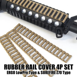 Tactical 7 inch Picatinny Ladder Rail Rubber Covers (pack of 4) Black Tan