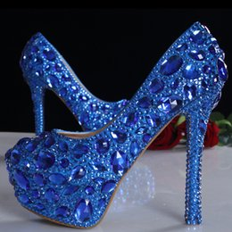 $enCountryForm.capitalKeyWord NZ - New Arrival Blue Rhinestone Crystal Wedding Shoes Graduation Party Prom Shoes Nightclub Evening Pumps Bridal High Heels