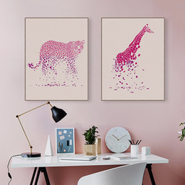 Art Canvas Prints Australia - Modern Gradient Pink Animal Leopard Giraffe Poster Nordic Living Room Wall Art Print Picture Home Decor Canvas Painting No Frame