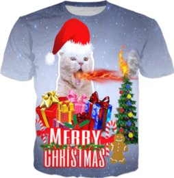 Womans S Clothing Canada - New Fashion Womans Men Short Sleeves Fire Breathing Cat Christmas Funny 3D Print T-shirt Summer Casual Clothes Top Tees Plus S-5XL K10