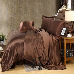 Brown Gold Color Luxury Silk Bedding Set King Queen Size Solid Color Brief  Style Duvet Cover Set Bedclothes Bed Sheet Bed Linen