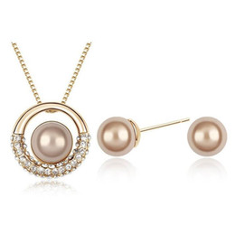 pink pearl fashion jewelry set 2019 - Silver Jewelry Sets Hot Sale Pearl Earrings Pendants Necklaces set for Wedding Party Fashion Jewelry Wholesale Free Ship