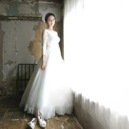 $enCountryForm.capitalKeyWord UK - 2020 Romantic White Wedding Dress Princess Boat-Neck Long-Sleeve Bandage Backless Lace Wedding Dresses Vestido De Noiva