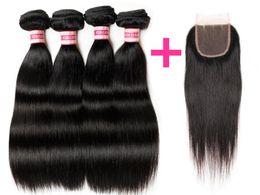 $enCountryForm.capitalKeyWord NZ - Wholesale Factory Price Free Shipping HC Hair Brazilian Virgin Straight Hair 4 Bundles With Closure Unprocessed Cheap Human Hair