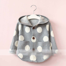 Cardigans Grises Baratos-Everweekend Girls Dots Button Cardigan con capucha Lovely Kids Pocket gris y azul Color coreano Moda otoño suéter