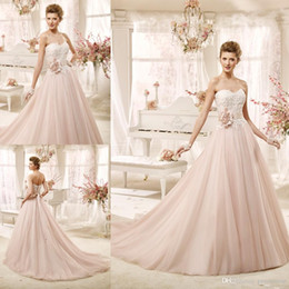 blush pink wedding dresses 2017 vintage bridal gowns a line sweetheart beaded lace applique with handmade flower sash corset back long train blush corset