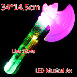 flash costume kids Australia - Free EMS 40pcs LED Flash Glow Musical Ax Axe 34*14.5cm Costume Dress Up Props LED Light Flash Sword Kids Toy Party Disco Christmas Gift