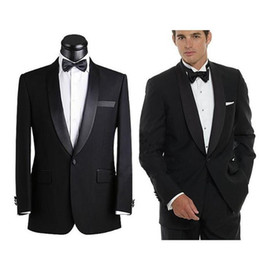 Mens Black Suit Bow Canada - Customized 2016 Top Selling Black Mens Suits Fashion Handsome Wedding Suits For Men Bridegroom (Jacket+Pants+Bow)