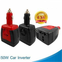 Discount laptop car dc power adapter - Wholesale- New 150W Car Power Inverter 12V DC to 220V 110V AC Converter Adapter with Cigarette Lighter and USB 5V Charge