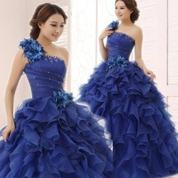 Barato Um Ombro Vestidos De Quinceanera Roxo-SSYFashion 2017 Prom Dresses One Shoulder Tiered Quinceanera Vestidos Purple Blue Cheap Floor-length Zipper Voltar Sem mangas Vestido De Festa