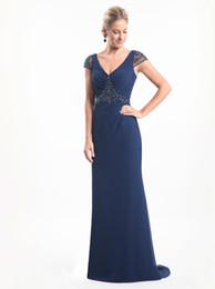 simple black stunning evening gowns UK - Stunning navy Blue Aline Chiffon Mother of the Bride Dresses V-Neck Cap Sleeves Backless Sparkling Beads Sequins Evening Gowns
