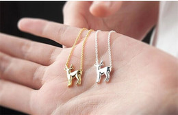 deer antlers charms Australia - 5PCS Gold Silver Simple Antler Deer Necklace Reindeer Horn Stag Necklaces Cute Bambi Necklace Woodland Fawn Necklaces